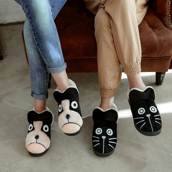PXELENA Lovely Cartoon Dog Cat Couple Slippers Winter Warm Plush Fur Women Men Slippers Home Bedroom Cotton Flat Platform Shoes