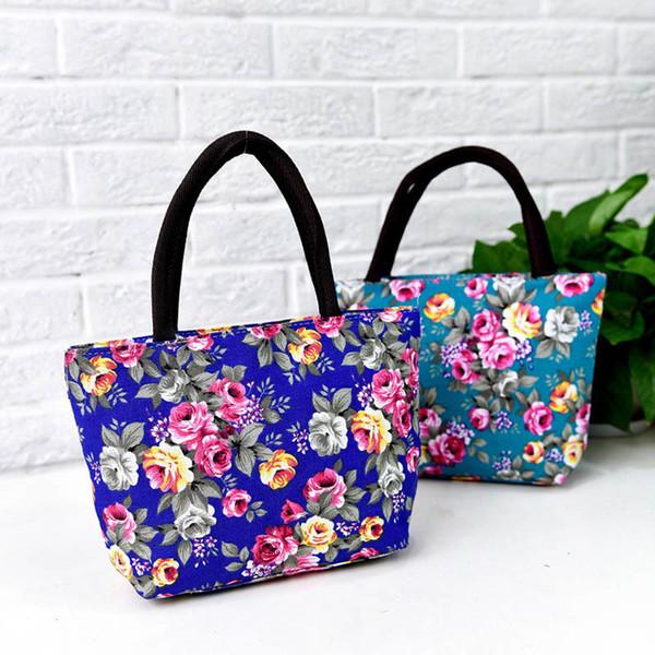 Simple Fashion Women Messenger Bags Canvas Flowers Printed Zipped Girls Handbag Ladies Shoulder Bag Big Capacity Fab Women Bag