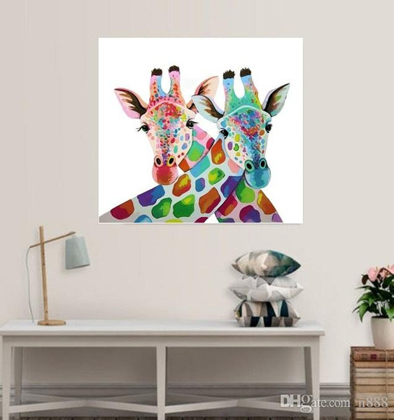 Giraff Abstract Animal Handpainted & HD Printed oil painting On Canvas Home Decor Wall Art Multi Sizes Frame Options a70