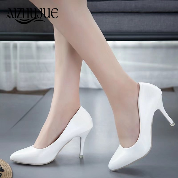 Size 34-45 women pumps 2018 new fashion sexy prom party shoes classic white black pink light green OL office career high heels