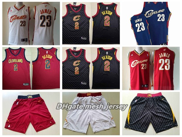 814aedf17 Retro Men Cleveland Basketball Cavaliers Jersey Leonard 23 LeBron James 2  Sexton Jerseys - Red Black