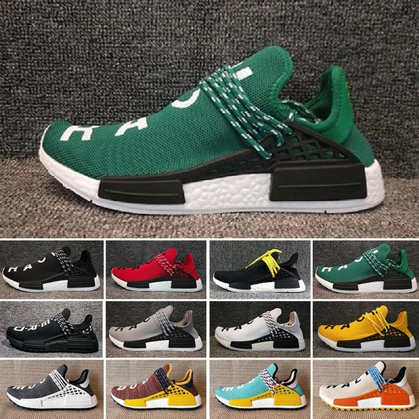 hot sale online abf68 60cc1 2019 Green Nerd Heart Mind Human Race Running Shoes Homecoming Solar PacK  Pharrell Williams Hu Trail Trainers Men Women Runner Sports Sneakers From  ...