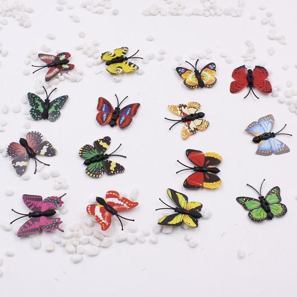 10pcs/lot Plastic 3D Butterfly Handmake Artificial Flower Head Wedding Decoration DIY Wreath Gift Box Scrapbooking Craft Fake Fl C18112601