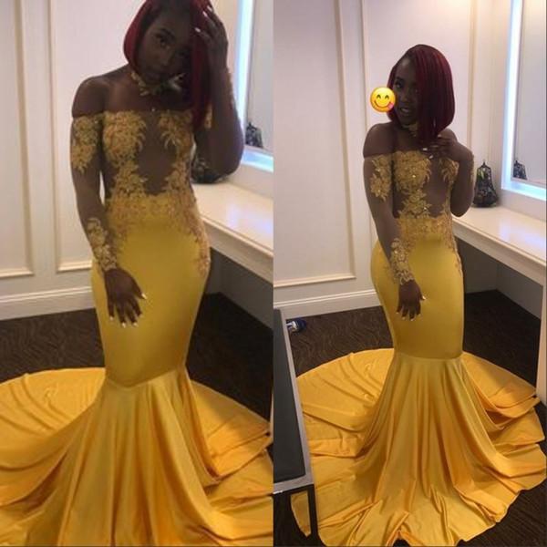Amarelo Africano Lace Sereia Vestidos de Festa de Formatura 2019 Longo Applique Até O Chão Vestidos de Noite Celebridade Pageant Personalizado