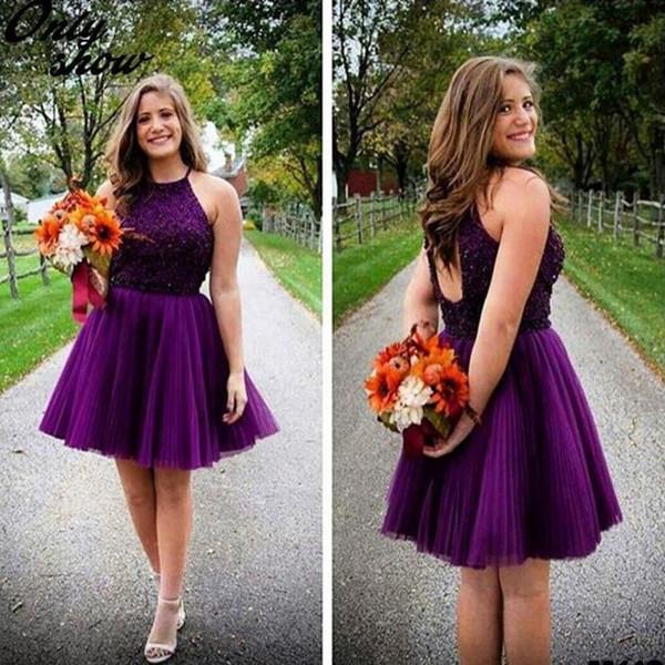 Bastante púrpura con cuentas de cristal de tul Vestidos de Fiesta Perlas atractivas Lentejuelas Hollow Back Plus Size A Line Mini Short Prom Vestidos de fiesta personalizados