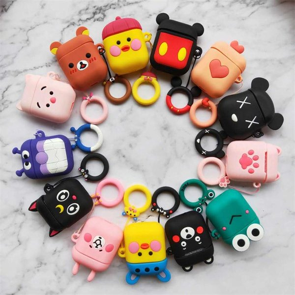 2019 Cartoon Wireless Bluetooth Earphone Case For Apple AirPods Silicone Charging Headphones Cases For Airpods Protective Cover car