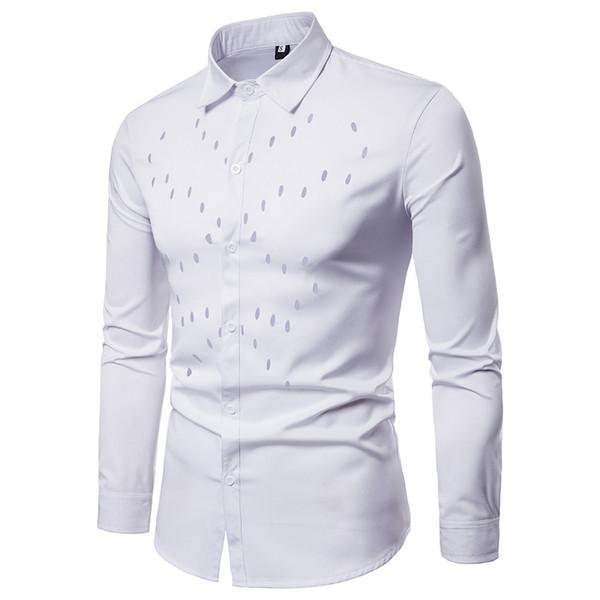 MUQGEW 2019 moda hombre camisa slim fit floral Hombre Otoño Camisas casuales Camisa de manga larga Hollow Top Blusa # G4