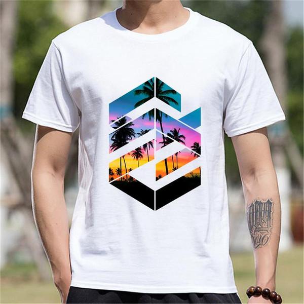 Yeni Gelmesi Kısa Kollu Tişört Erkek Giyim Geometrik Sunset Beach Pamuk Komik T Shirt Erkek