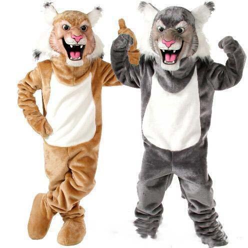 2019 de Alta calidad Nueva Profesión Wildcat Bobcat Mascot Disfraces de Halloween de Dibujos Animados Tamaño Adulto Gris Tiger Tiger Vestido de Fiesta