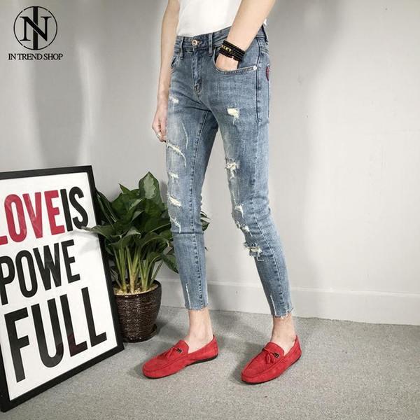 Autunno Nuovo tipo di jeans chiari a nove colori chiari, rossi da uomo, ragazzi spirituali e pantaloni da uomo sociale