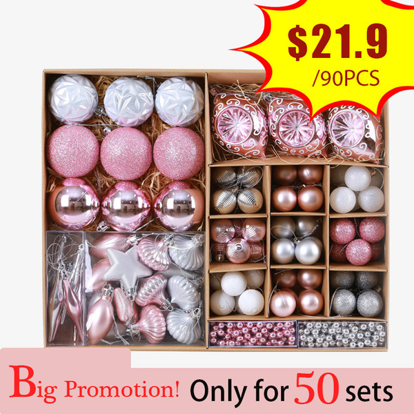 Pink Christmas Balls Baubles Cristmas Decoration Tree Ornaments Hanging Ball Craft Supplies For Home 2019 New Year Gifts