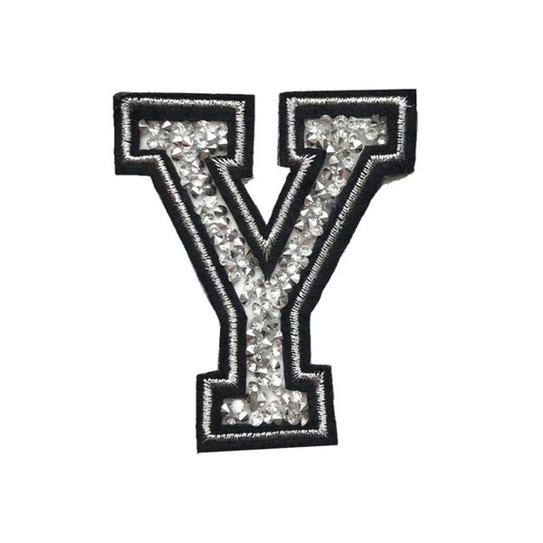 6.5CM Y Letter Hot Fix Rhinestone Patch Sew Iron On Alphabet Badges Embroidery Appliques Half Handmade For Jeans Dress T Shirt DIY