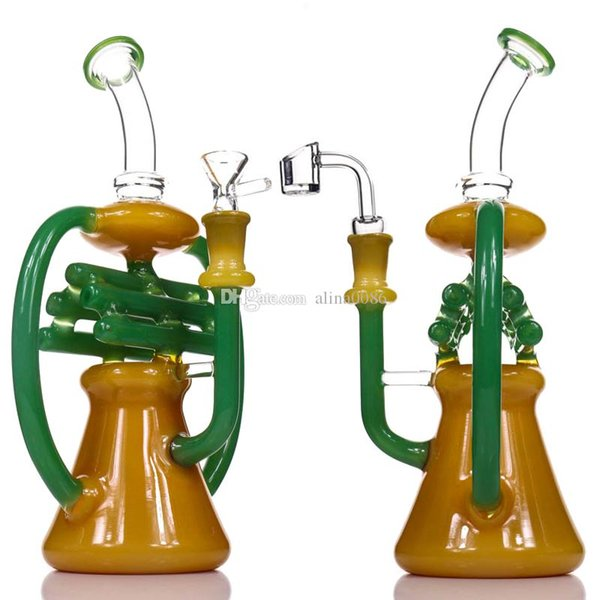 """Glass Bong Dab Rig NOTE Recycler Water Bongs Tall 10.5"""" Inline Percolator Heady Glass Beaker Bong Color Recycler Oil Rigs Bubbler Pipe"""