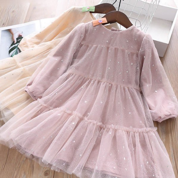 Girls dresses kids sequins stas moon lace tulle dress children tiered lace ruffle princess dress+hairpins 2pcs set fall new kid clothes F902