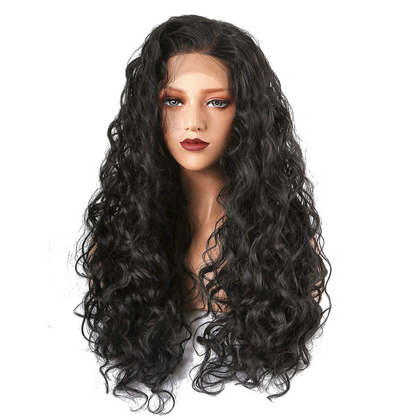 24inces long curl wig for black women's natural black curly front lace wig with natural hairline heat-resistant hair replacement wig