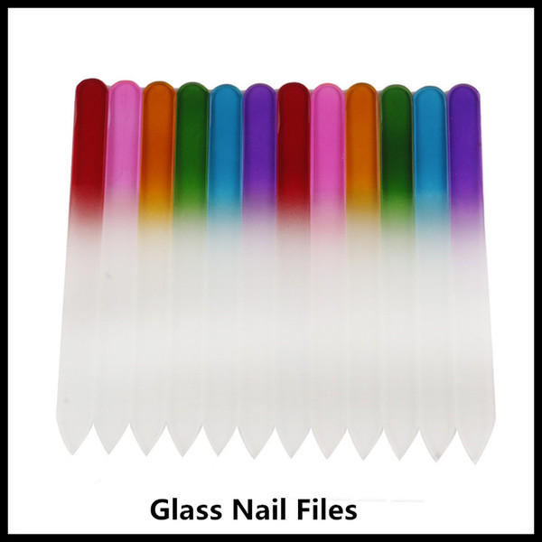 best selling Hot Colorful Glass Nail Files Durable Crystal File Nail Buffer NailCare Nail Art Tool for Manicure UV Polish Tool