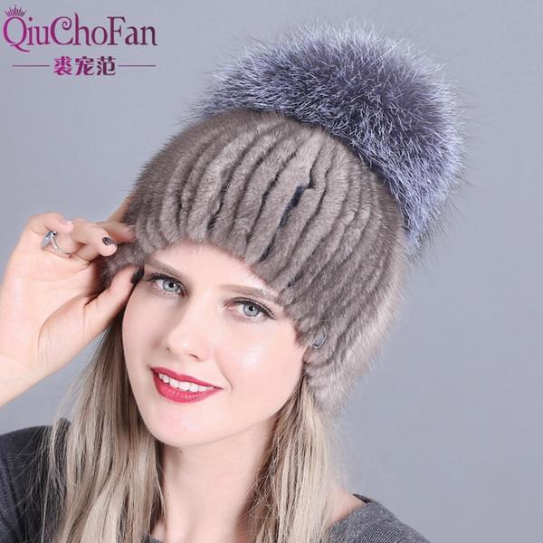 QiuChongFan 2018 new female fur hat woman winter ski cap warm protection ear mink and fox cap hair handmade free shipping D19011503