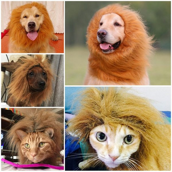 Cat Funny Wig Lion Headgear Hat Cat Small Dog Collar Wig Warm Cat Supplies Accessories Halloween Costume Pet