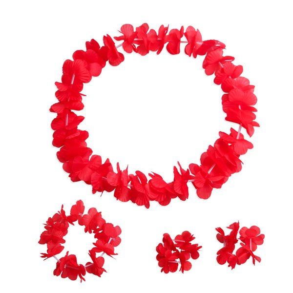 Colorful Hawaiian flowers Tropical Flower Garland Necklace Bracelets Headband set Tropical Beach Costume Party Decorations Supplies