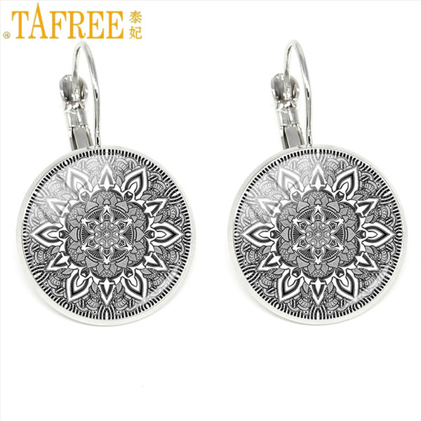 TAFREE Christ Jesus Cross Clip Earrings Mandala Yoga ear cuff Sacred Geometry Buddhism amulet Spiritual Buddhist Jewelry CT355