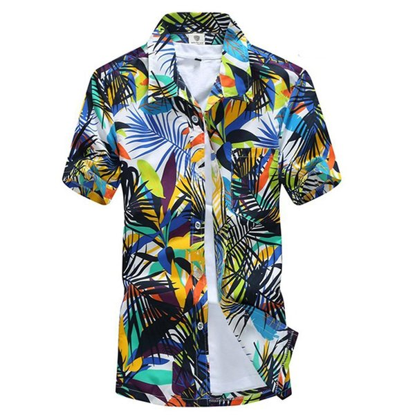 Men Casual Thin Turn-down Collar Short Summer Sleeve Casual, Single Breasted Floral Print Loose Beach Shirt