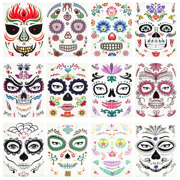 Cadılar Bayramı Noel Partisi Yüz Sticker Su geçirmez Çevresel Sahne Malzemeleri Sanat Makyaj Yüz Çıkartma Pretty Dövme Çıkartma RRA2125