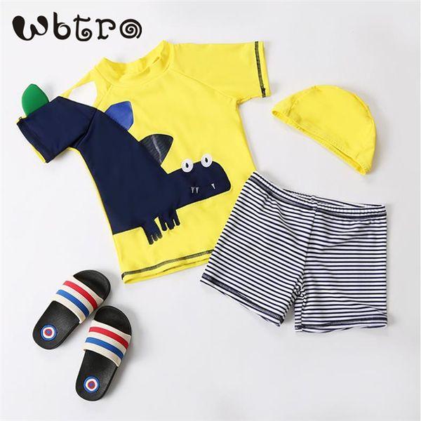 WBTRO Children Kids Boy Two Piece Swimming Bathing suit Beach Swimsuit Pool Hot-spring Swim Cap short sleeves Dinosaur Swimwear