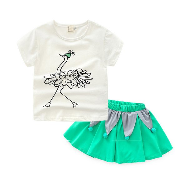 good quality Baby girls summer clothes suit infant boys fashion cartoon cotton T-shirt+skirt 2pcs clothing sets for toddler girls