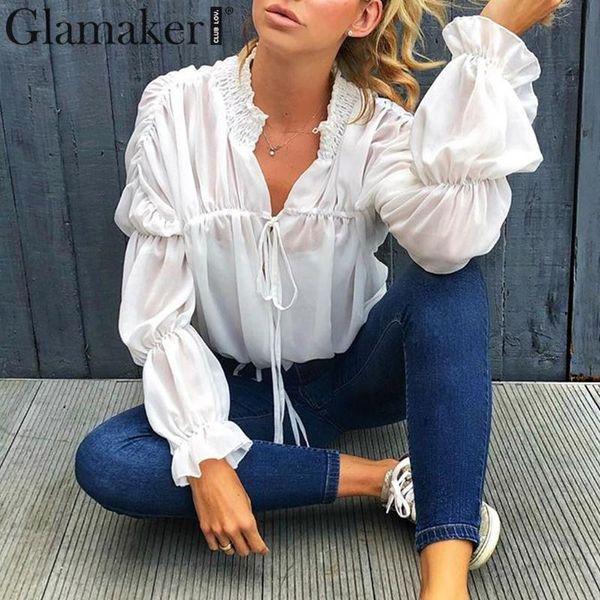 Glamaker Sexy chemisier en mousseline à lacets dames shirt été automne automne élégant volants manches chemise blanche plissée blouse bureau