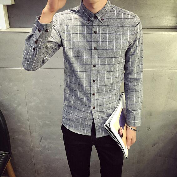 Men's Shirt, Men's Long-sleeved Shirt, Plaid Joker, Fashion Casual, White/gray/Grey/Green/Red/ Blue/Cyan, M-4XL Size.