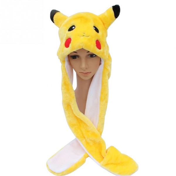 Pikachu Cartoon Plush Animal Faux Fur Full Hood Kids Hat Women Children Costume Beanie with Long Scarf Mittens Gloves Earmuffs