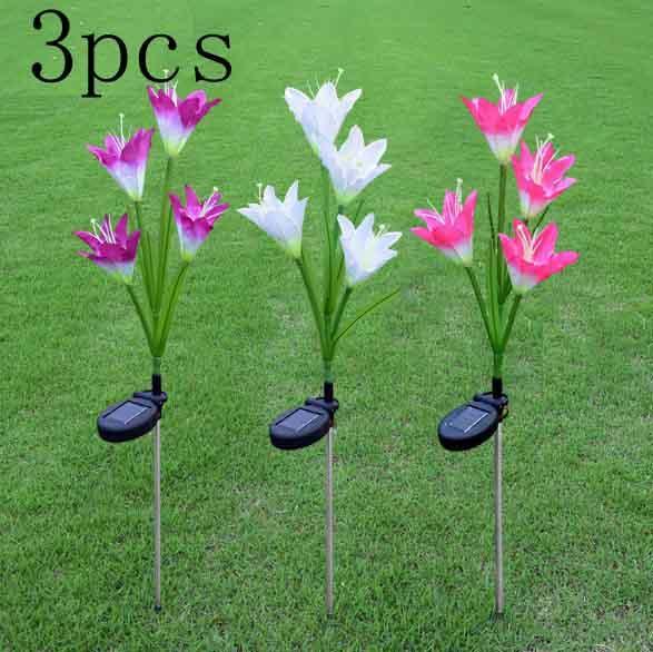 3 шт. / Лот свет на солнечной энергии лилии цветок газон патио декоративный двор сад открытый декор