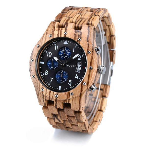 BEWELL Mens Wood Watches Wood Gift Box Quartz Analog Sub-Dial Date Display Chronograph Luminous Hands erkek kol saati W109D
