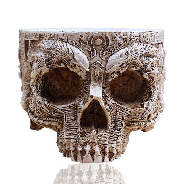 P-Chama Branco Antigo Escultura Plantador de Vasos de Armazenamento De Jardim Crânio Humano Recipiente Macetas Decoração Vaso De Flores Para A Decoração Da Casa