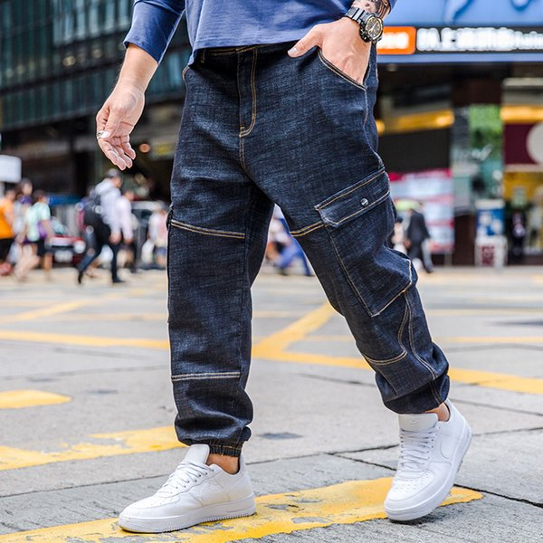 Plus Size 30-40 42 44 46 New Design Men's Casual Harem Jeans Fashion Men Washed Big Pocket Denim Pants Hip Hop Sportswear Pants