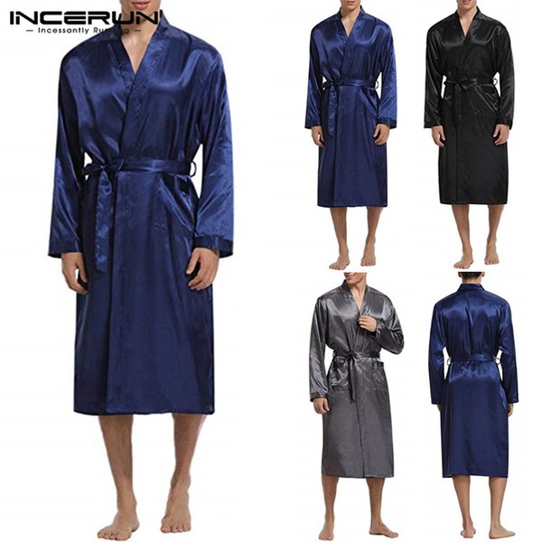 Kimono Silk Satin Bathrobe Mens Robe Long Sleeve Long Bathrobe Lightweight Sleepwear Belt Dressing Gown Pajamas Male Robe Unisex
