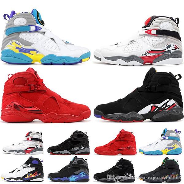 Zapatos Zapatos jumpman 8 8s de baloncesto del Mens día de San Valentín en color blanco azulado Negro Cromo Cuenta atrás Paquete 3PEAT PLAY OFF NIK instructor para hombre de la zapatilla de deporte Deportes