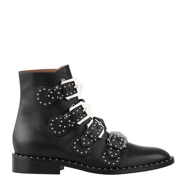 Echtes Leder Schwarz Rindsleder Stiefeletten Damen Schuhe Nieten Metallschnalle Kampfstiefel für Frauen Luxus Schuhe Frauen Designer