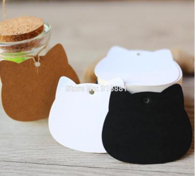 Etichette di carta Kraft di testa di gatto Etichette di avvolgimento regalo di nozze fai da te Nota di compleanno in bianco Tag regalo mestiere in bianco 5.2x6.5cm 300pcs / lot