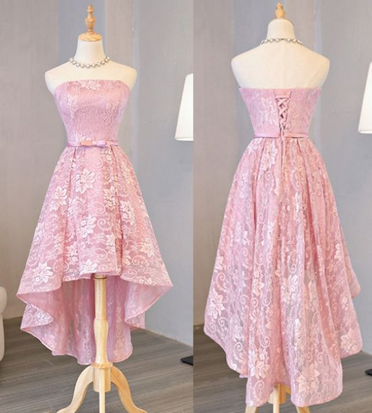 Elegant Hi Low Homecoming Party Bridesmaid Dresses Strapless Lace Bodice Corset Back Cheap Prom Evening Formal Dress Discount for Girls