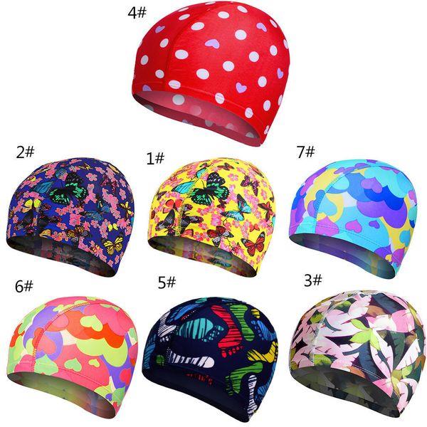 Elastic Fabric Cute Cartoon Swimming Caps For Long Hair Lovely Kids Cartoon Protect Ears Swim Pool Hat For Women Boys Girls C19040302