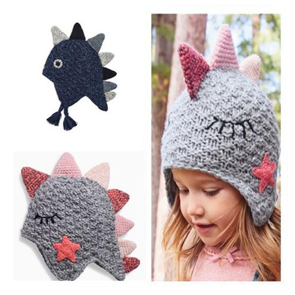 2019 INS Baby Boys Cartoon Knit Caps Cute Autumn Winter Dinosaur Kids tejer sombrero Animal Girls Earflap Hat Niños Crochet Hats C943