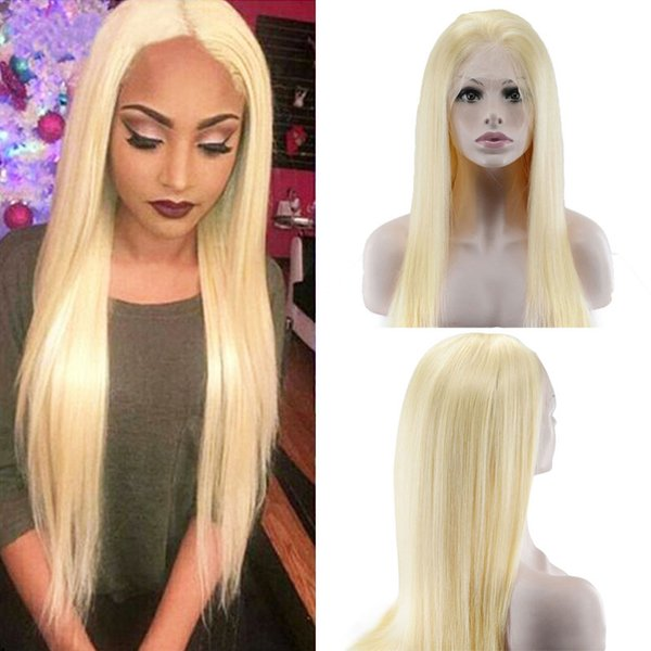 Malaysian Remy Human Hair 130% Density Pure 613 Blonde Lace Front Wigs With Baby Hair Bleached Knots Free Part