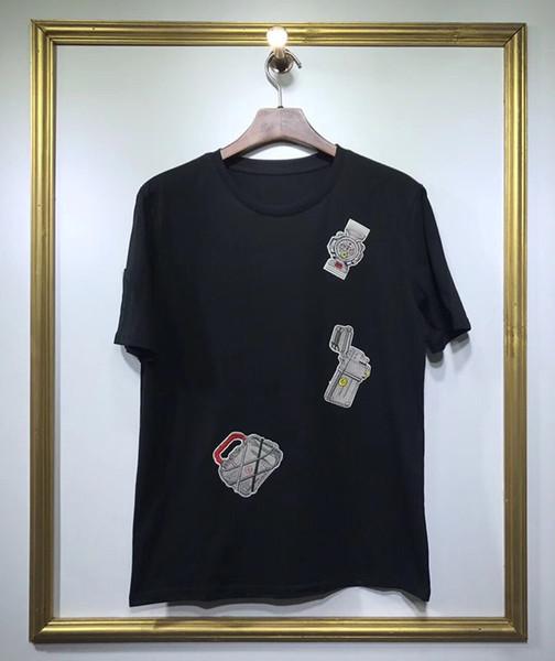 2019 роскошный дизайн мужские часы сумка значок вышивка хлопок футболки мужские новое поступление летний стиль с коротким рукавом мужская футболка