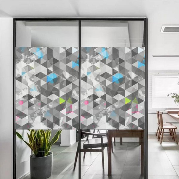 top popular Static Cling Stained Window Film Privacy Frosted Glass Sticker, 120*58cm, 8 Patterns Available 2021