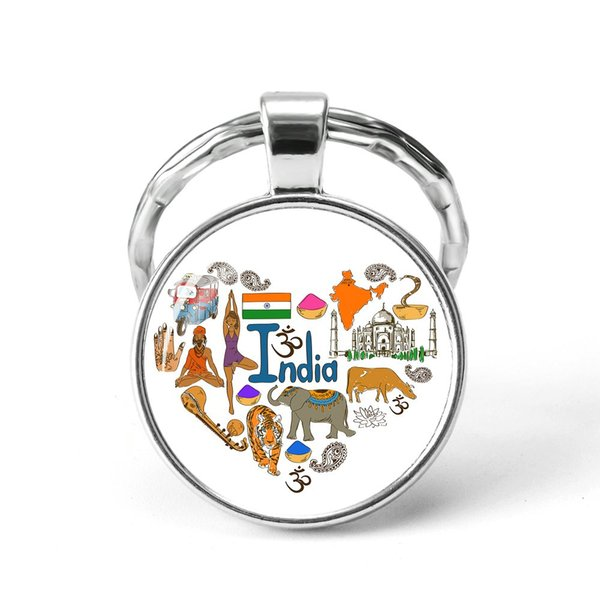 Style18 Quotes Jewelry Ethnic Style Keychain Russia USA France Italy Finland Indianationality Keyring Glass Cabochon Keyring Keychain