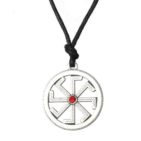 Nordic Viking Slavic Symbol Pendant Pagan Amulet Necklace Wax Rope Jewelry