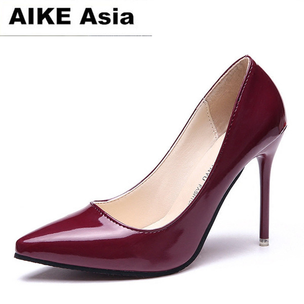2019 Dress Hot Women Shoes Pointed Toe Pumps Patent Leather Dress High Heels Boat Wedding Zapatos Mujer Blue Wine Red Lady Blue