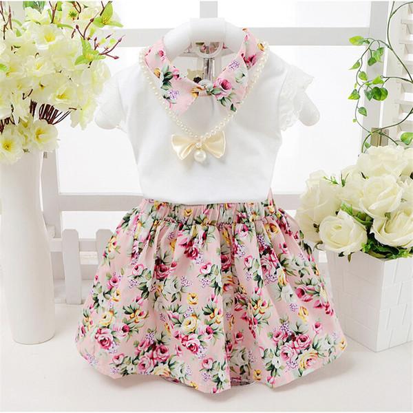 Conjuntos de roupas de bebê meninas de boa qualidade roupas Infantis criança crianças verão dos desenhos animados 2 pcs conjuntos de roupas de impressão meninas verão conjunto