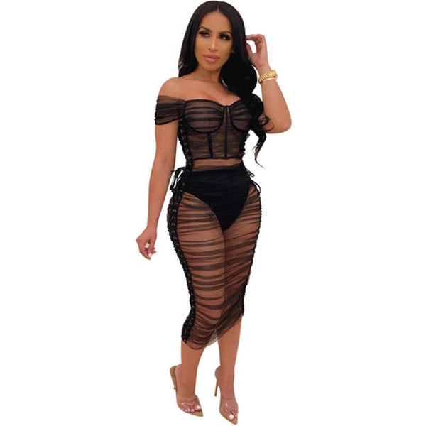 Siyah Şeffaf Mesh Seksi BODYCON Elbiseler Kadınlar Yaz Lace Up Kapalı Omuz Dantelli Elbise Şık Gece Kulübü doğum günü partisi Elbise